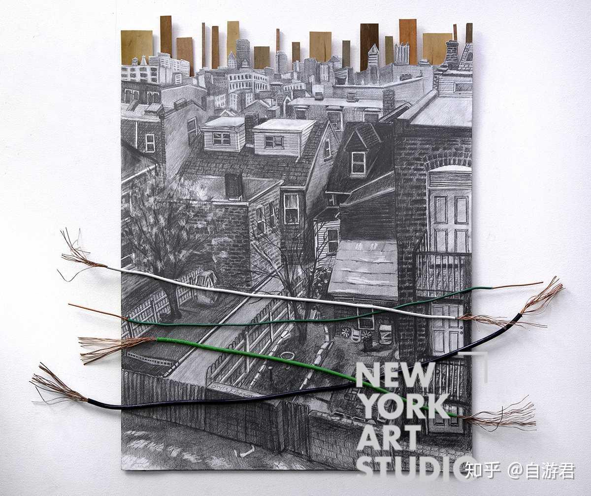 《窗外的风景》,学生素描作品,加上不同的材料,别有一翻风味!