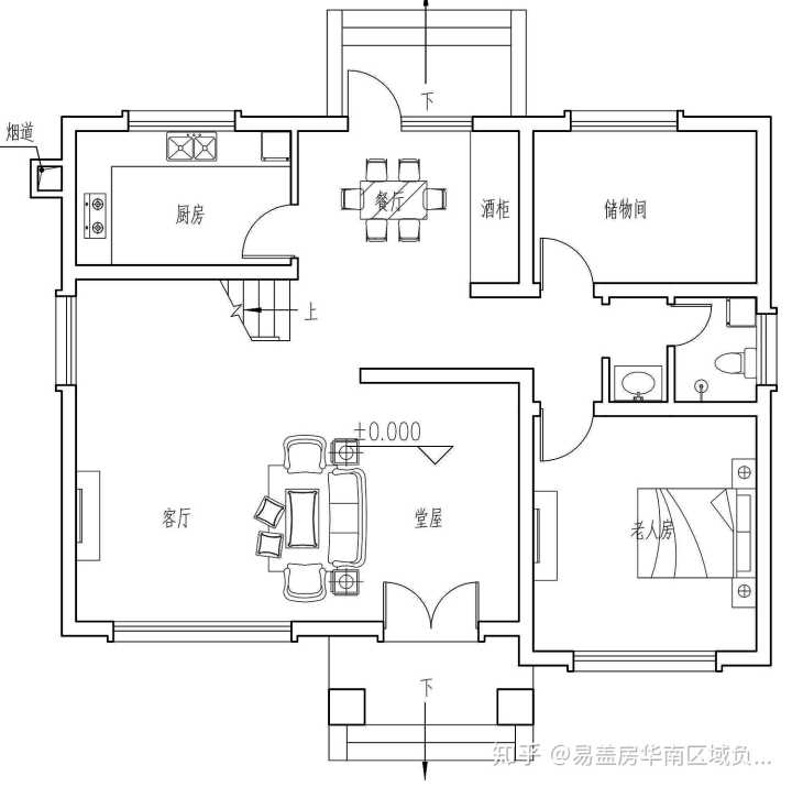 将项目形式确定为坐北朝南的庭院,南北通过主体建筑划分为前后庭院.图片