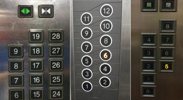 上图:不同电梯中的操作按钮样式、排布可能完全不同-写给产品经理