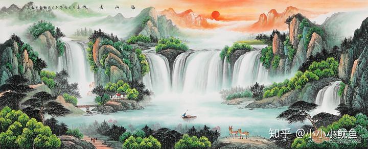 办公室挂画选一幅这样的山水画,带来视觉上的愉悦感受图片