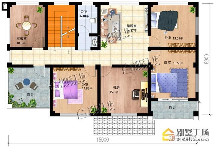 三款开间大进深短的长方形楼房设计图,实用美观两不误图片