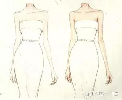 素描设计图手稿——礼服