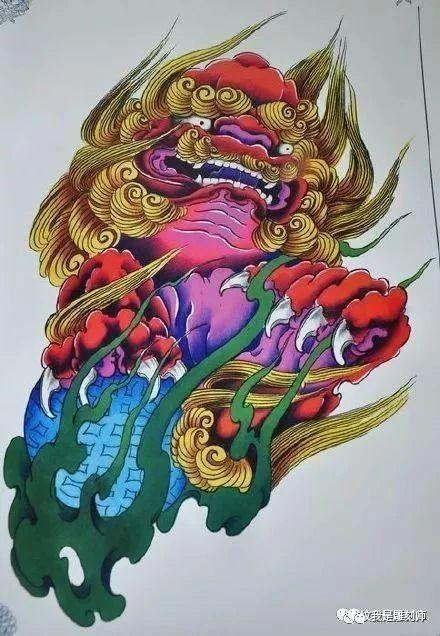 我是雕刻师,唐狮纹身雕刻手稿图案素材