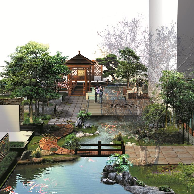 精选20张别墅庭院锦鲤鱼池效果图,为庭院鱼池景观设计