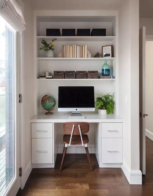 想要拥有更好的采光就把书桌安在窗边,诸如此类阳台上的小空间就可以图片