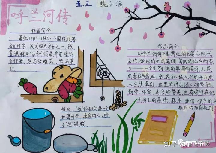 廊坊六小五年级《呼兰河传》手抄报+思维导读部分优秀