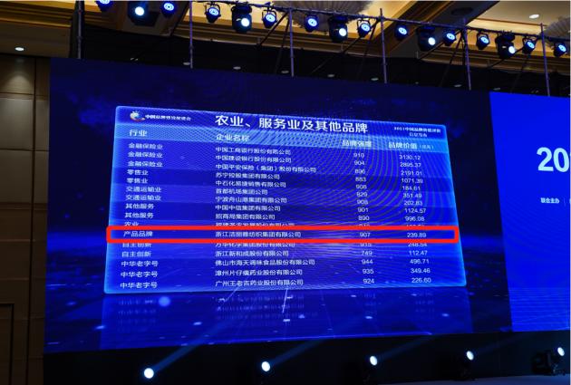 239.89亿!洁丽雅连续八年蝉联中国家纺行业品牌价值榜首!