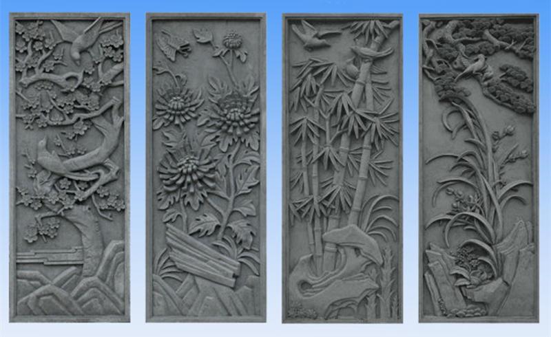 浮雕梅兰竹菊|四君子石材雕刻寓意