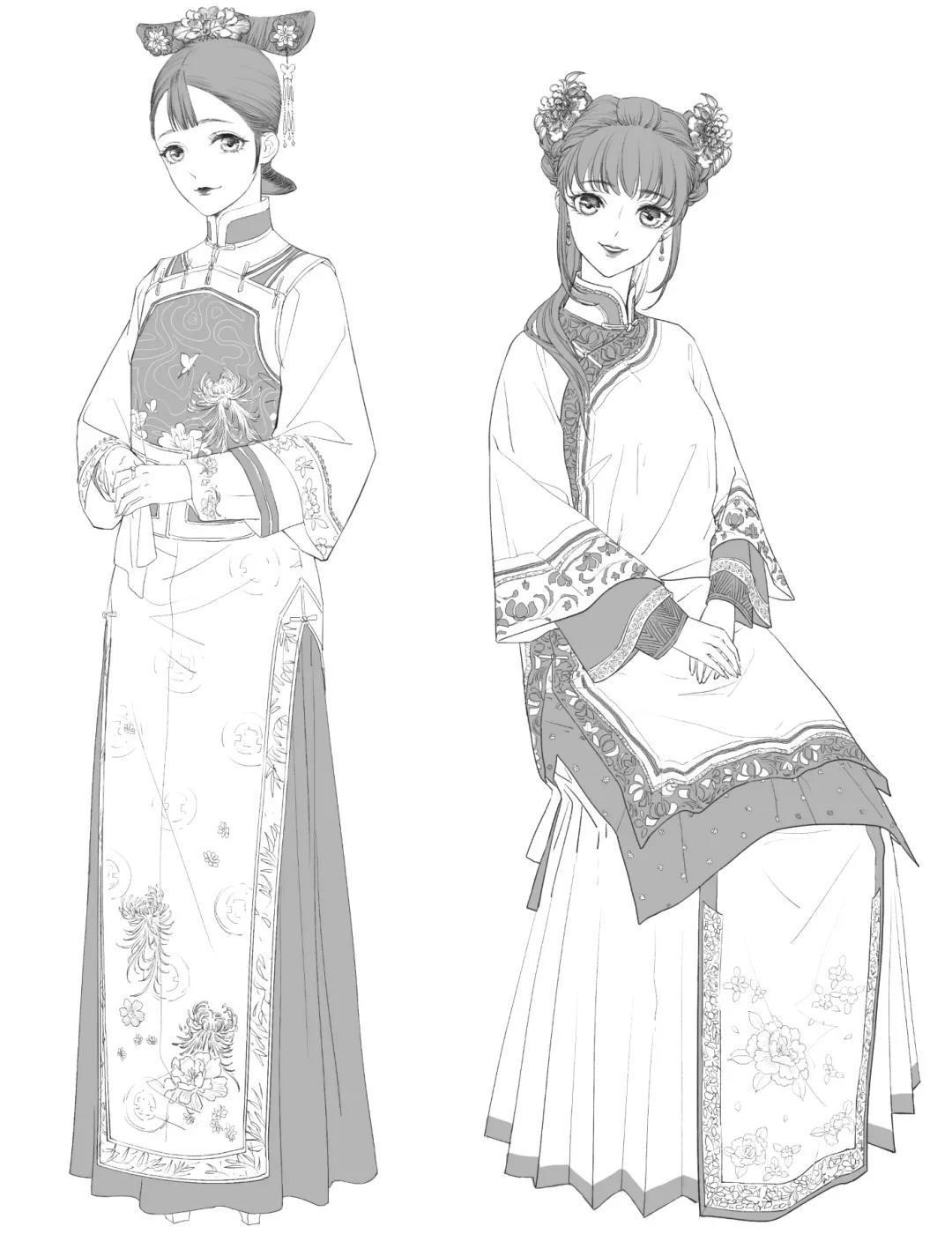 清朝女子服饰图案_从秦汉到明清,这份详细的古代服饰造型手册请收好! - 知乎