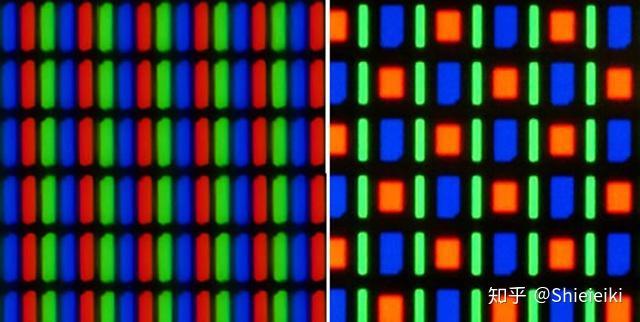 左邊為lcd屏幕像素點排列,右邊為oled圖片