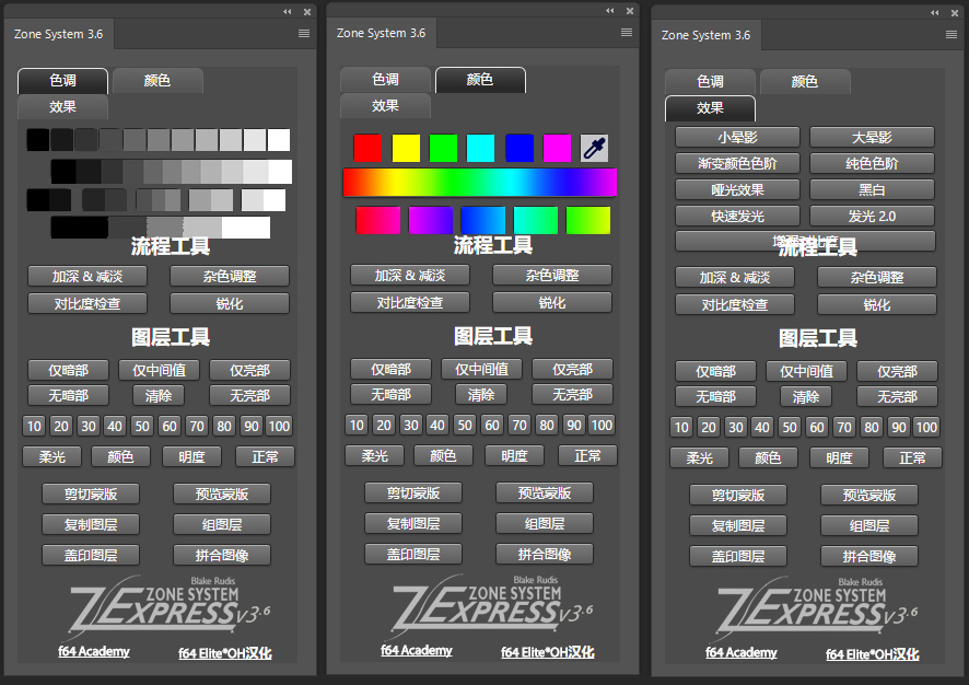 【S431】Zone System Photoshop Panel v3.6区域系统汉化扩展面板