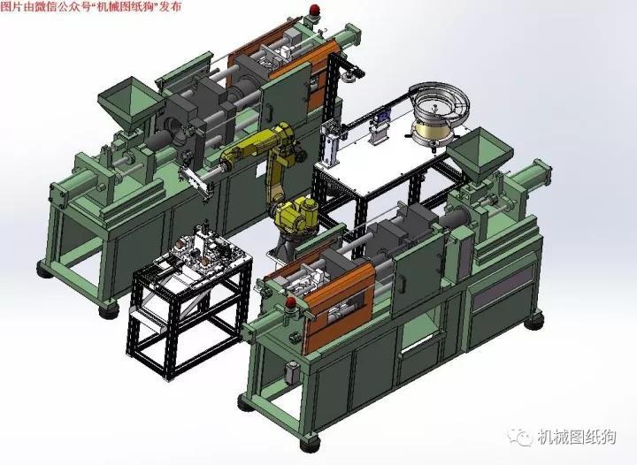 【非标数模】注塑件机器人自动预埋件、取件、去毛刺系统设备数模 Solidworks