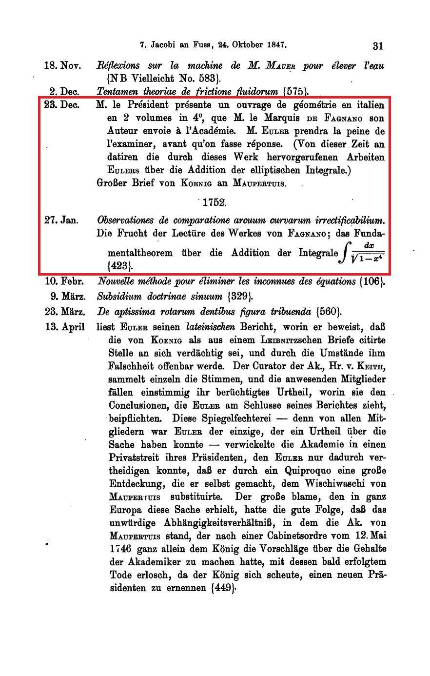 预篇:伯爵Fagnano与Euler的加法定理(I)