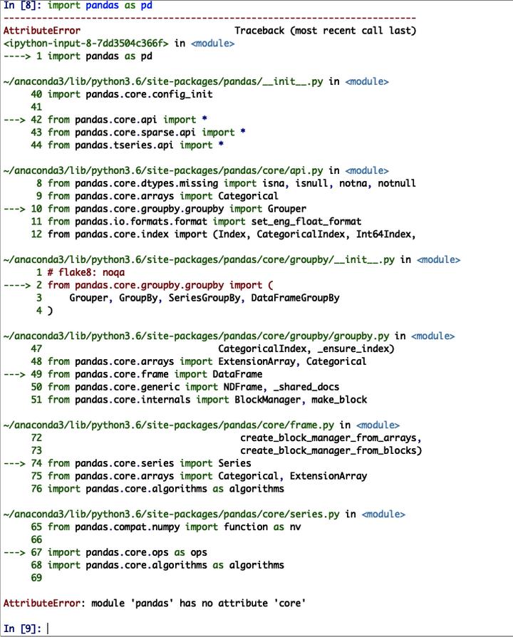 Module pandas has no attribute core   Intro to Data